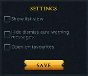 Aura managment settings