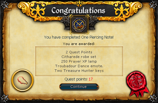 One Piercing Note reward
