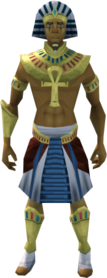 Pharaoh's outfit (yellow, male) equipped