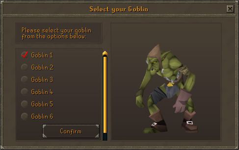 Goblin selection interface