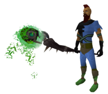 Augmented noxious staff equipped