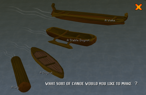 Canoe selection interface