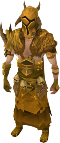 Golden warpriest of Bandos armour equipped