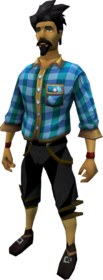 Blue checkered shirt equipped