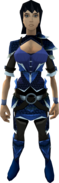 Blue dragonhide armour (t) (female) equipped