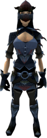 Black dragonhide armour (female) equipped