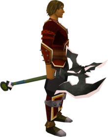 Lucky Dharok's greataxe equipped