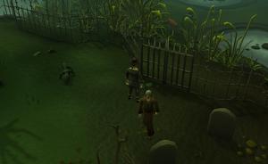 Portão que leva ao Pântano de Mort Myre