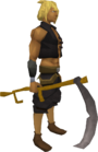Scythe equipped
