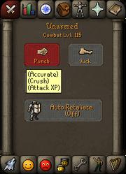 Attack combat menu