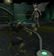 Chaeldar fights goblin