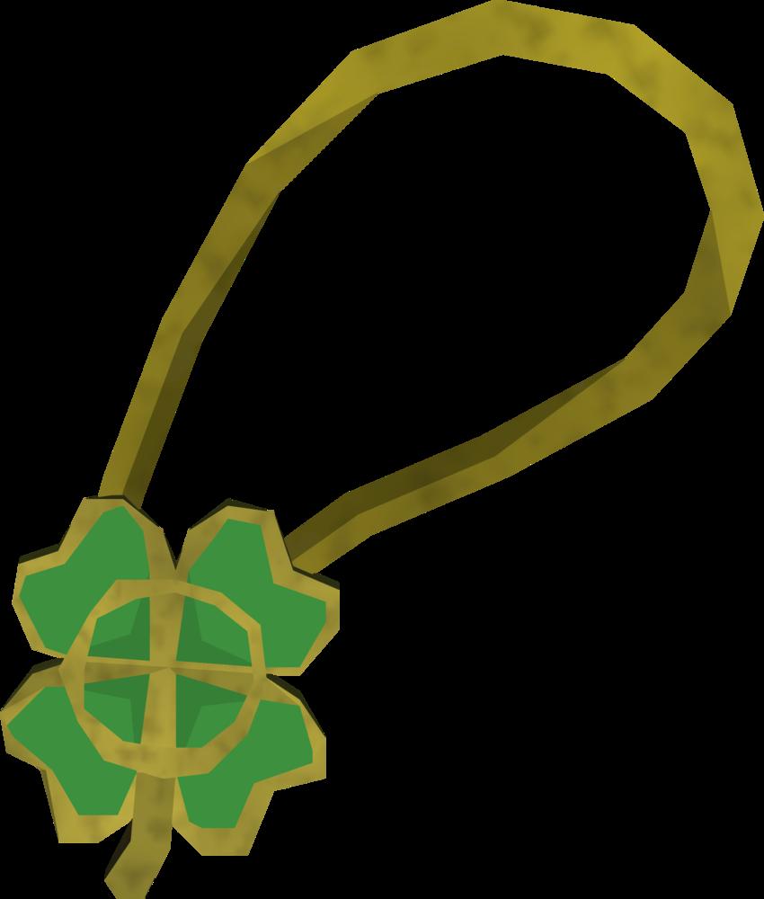Shiny four-leaf clover necklace detail