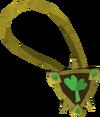 Sparkling two-leaf clover necklace detail