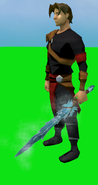 Off-hand Ice Sword equipped