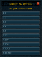 Ring of coins configure interface