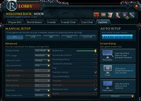 RuneScape Lobby Options