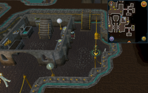 Scan clue Dorgesh-Kaan lower level east of building with range and sink