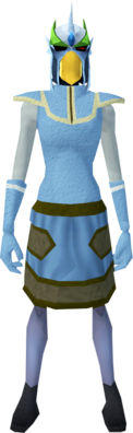 Mighty slayer helmet (f) (green) equipped