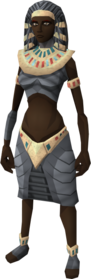 Pharaoh outfit equipped (female)