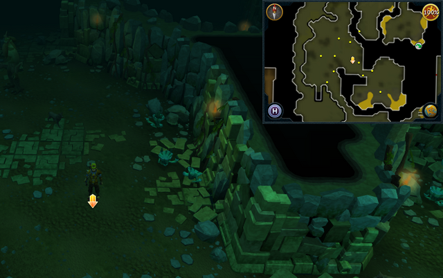 File:Scan clue Brimhaven Dungeon lower level in west chamber with staircase to upper level.png