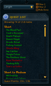 Quest list sorted by length