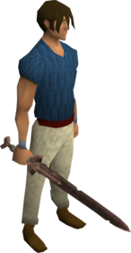Rusty bronze sword equipped