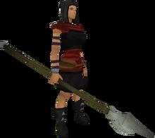 Vesta's spear equipped