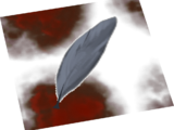 Blood-soaked feather
