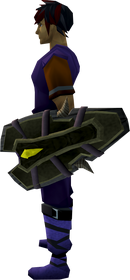 Dromoleather shield equipped