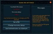 Bank PIN settings
