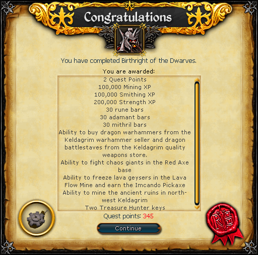 Birthright of the Dwarves reward