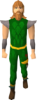 Green d'hide gold-trimmed set equipped old