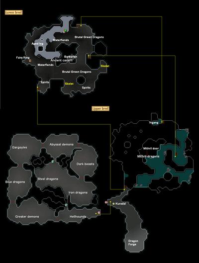 Ancient Cavern kaart aanwijzingen