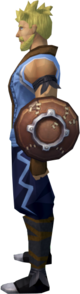 Leather shield equipped