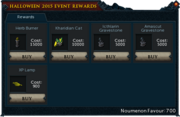 2015 Hallowe'en event rewards stock