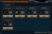 2015 Hallowe'en event rewards stock