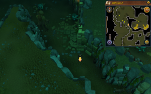Scan clue Brimhaven Dungeon lower level in passage south of west chamber with staircase to upper level