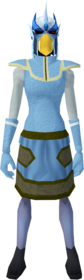 Mighty slayer helmet (f) (blue) equipped