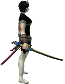 Augmented elite tetsu katana equipped