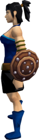 Studded leather shield equipped
