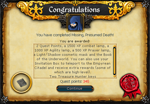Missing, Presumed Death reward