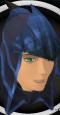 Blue dragonhide coif chathead