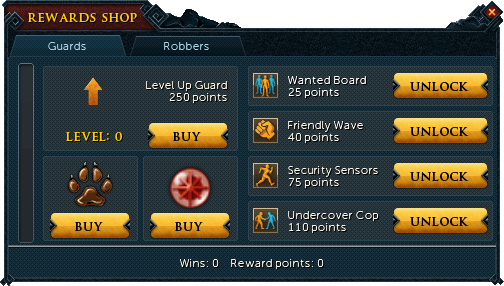 Heist reward shop (Guards)