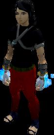 Spellcaster gloves (white) equipped