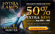 Treasure Hunter 50% extra keys promo (Hydra Lamps)