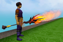 Staff of limitless fire equipped
