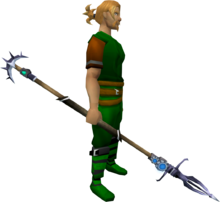 Augmented Zamorakian spear equipped