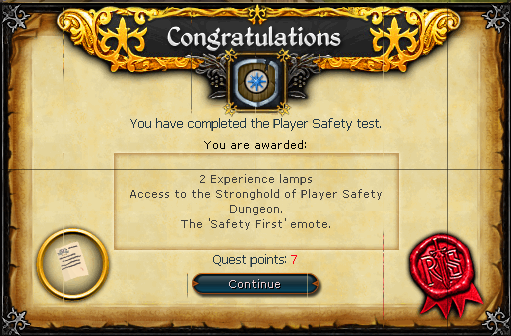 Player Safety Test reward
