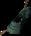 Arco-escudo de teixo detalhe