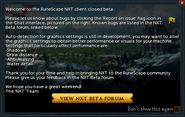 NXT Beta popup